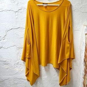 Blush mustard yellow poncho blouse